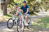 Portrait of senior couple riding cycle in the park. Happy mature couple wearing helmet and cycling.  poster