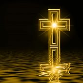 Golden Cross Reflected On Water