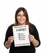 image of babysitter  - A babysitter holding a paper flyer advertising her skills as a babysitter isolated against a white background - JPG