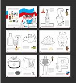 Постер, плакат: Russia Coloring Book Patriotic Book For Coloring Russian National Symbols Red Moscow Kremlin Sam
