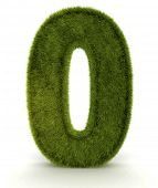 Number zero in 3D and grass texture - isolated over white