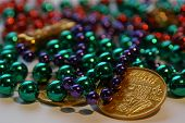 Mardi Gras Beads And Coins poster
