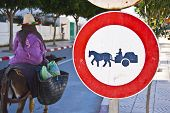 stock photo of horse plowing  - Trafic sign prohibiting horse carrige drive at the city streets - JPG