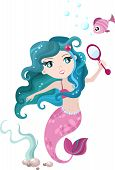 foto of undine  - vector illustration of a cute mermaid with fish - JPG
