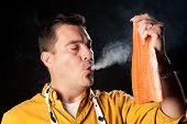 image of dumbass  - Househusband trying to be creative preparing smoked salmon - JPG