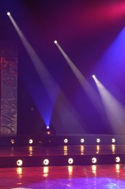 picture of curtains stage  - colorful focussed lighting stage setup for dancing  - JPG