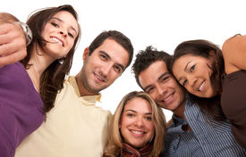 foto of latin people  - Low view of a group of happy people isolated on a white background - JPG