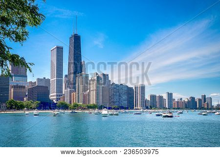 poster of Chicago Downtown Skyline And The Blue Sky