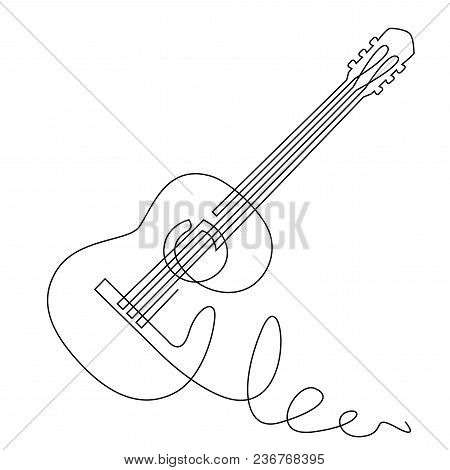 poster of Continuous Line Drawing Of Acoustic Guitar Vector. Musical Instrument Single Line For Decoration, De