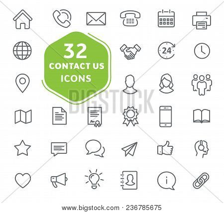 Contact Us Icons Thin Lines
