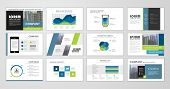 Blue And Green Abstract Presentation Slide Templates. Infographic Elements Template  Set For Web, Pr poster