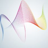 Technological Background With A Line In The Waveform Abstract Smooth Curved Lines From Dots Halftone poster