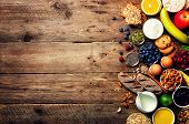 Healthy Breakfast Ingredients, Food Frame. Granola, Egg, Nuts, Fruits, Berries, Toast, Milk, Yogurt, poster