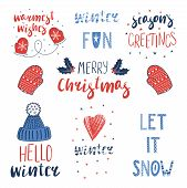 Collection Of Different Winter, Christmas Quotes, Typographic Elements, With Hand Drawn Mittens, Kni poster