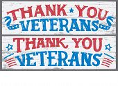 Thank You Veterans. Veterans Day Hand Lettering Wood Signs. National Holiday Vintage Hand Drawn Typo poster