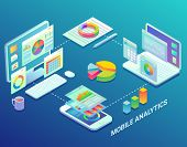 Mobile Web Analytics Infographic Design Template. Vector Flat Isometric Mobile Analytics Process Flo poster