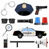 The Police Set. Handcuffs, Cap, Police Token, Police Car, Baton, Loudspeaker, Walkie-talkie. Flat De poster