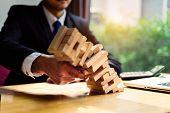 Businessman Pick Wooden Block Fail Danger Tower Challenge Game Building Construction Protect Plan An poster