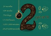Floral Card With Number Two And Pocket Watch poster