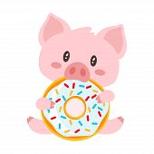 Vector Cartoon Style Illustration Of Cute Pink Pig Sitting And Eating Tasty Doughnut. Isolated On Wh poster