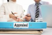 Appraisal Documents On Desk With Manager And Board Are Discuss About Property Appraisal Or The Appra poster
