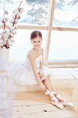 Young Ballerina Girl Is Preparing For A Ballet Performance. Little Prima Ballet. Girl In A White Bal poster