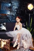 Girl In A White Ball Gown And Shoes, Beautiful Red Hair. Young Theater Actress. Little Prima Ballet. poster