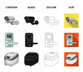 Home Appliances And Equipment Cartoon, Black, Outline, Flat Icons In Set Collection For Design.moder poster