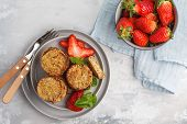Vegan Sweet Tofu Fritters With Strawberries. Healthy Vegan Food Concept. poster
