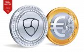 Nem. Euro Coin. 3d Isometric Physical Coins. Digital Currency. Cryptocurrency. Golden And Silver Coi poster