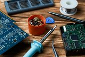 Repair Of Electronic Devices, Tin Soldering Parts, Close Up. Electronic Manufacturing And Repair Con poster