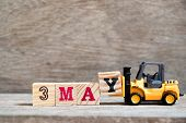 Toy Forklift Hold Block Y To Complete Word 3 May On Wood Background (concept For Calendar Date For M poster