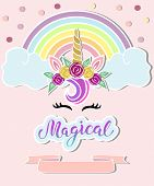 Template With Unicorn Horn, Tiara, Rainbow. Handwritten Lettering Magical As Logo, Badge, Patch, Pro poster