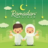 Ramadan Greeting Card. Cute Cartoon Muslim Kids Holding Lantern With Crescent Moon, Stars And Mosque poster