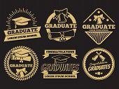 Vintage Student Graduate Vector Badges. Graduation Label Set. Graduation Badge And Label Vintage Uni poster