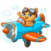 Kitty Pilot In Ariplane Cartoon Vector Illustration For Kid Happy Birthday Greeting Card Or T-shirt  poster