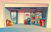 Vector Cartoon Illustration Of Garage Interior, Storage Room With Auto Equipment, Tires, Jerrican, M poster