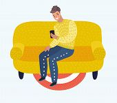 Vector Cartoon Illustration Of Man Sitting On Couch. Person Man Relaxation, Comfortable, Guy Resting poster