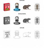 Staff, Packing With Poison And Pests Cartoon, Outline, Monochrome Icons In Set Collection For Design poster