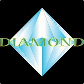Blue Diamond Icon On Black Background. Blue Diamond Sign. Flsy Style. Diamond Logo. Jewelly Shop Sig poster