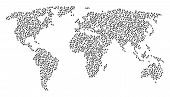 Global Geography Collage Map Organized Of Mouse Cursor Pictograms. Vector Mouse Cursor Scatter Flat  poster