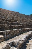 Roman amphitheatre in the ruins of Hierapolis, in Pamukkale, near modern turkey city Denizli, Turkey poster