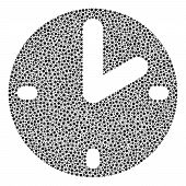 Clock Collage Of Circle Dots In Variable Sizes And Color Tints. Small Circles Are United Into Clock  poster