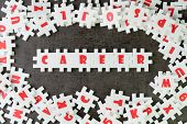 Career Path Opportunities Concept, Abundance White Puzzle Jigsaw With Alphabets Combine Word Career  poster