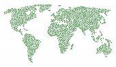 Global Geography Composition Map Designed Of Plant Leaf Design Elements. Vector Plant Leaf Scattered poster