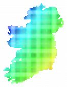 Spectrum Dotted Pixelated Ireland Map. Vector Geographic Map In Bright Colors On A White Background. poster