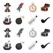 Pirate, Bandit, Ship, Sail .pirates Set Collection Icons In Cartoon, Monochrome Style Vector Symbol  poster