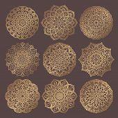 Mandala Vector Design Element. Golden Round Ornaments. Decorative Flower Pattern. Stylized Floral Ch poster