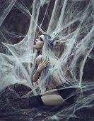 Beautiful Sexy Gothic Girl With Pale Skin And Long White Hair Like Spider Black Widow In Spider Web. poster