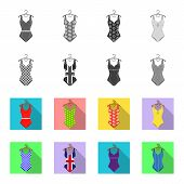 Different Kinds Of Swimsuits. Swimsuits Set Collection Icons In Monochrome, Flat Style Vector Symbol poster